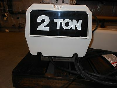 (#614) 2 ton electric chain hoist 20' lift with push trolley- 3 phase