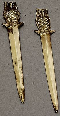 """Lot of 2 Vintage SOLID BRASS LETTER OPENERS 7"""" LONG OWL FIGURAL"""