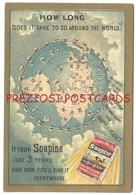 SOAPINE SPREADS AROUND THE WORLD In Only 3 YEARS - Scarce ca1880's Trade Card