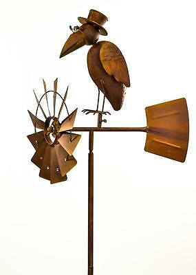 Rustic Brown Metal Spinning Wheel Top Hat Bird Windmill Stake Garden Ornament
