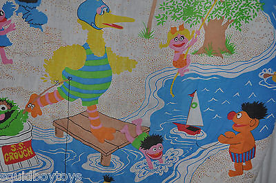 SESAME STREET DAY CAMP vintage Fitted & Flat BED SHEET 1980s MUPPETS