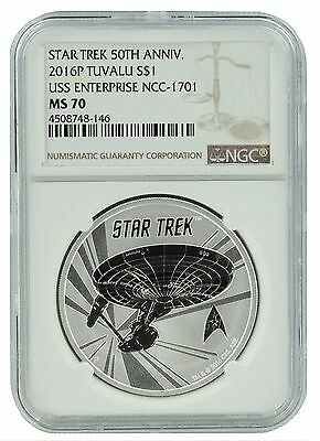 2016 Tuvalu Star Trek USS Enterprise 1oz Silver Coin NGC MS70 - Brown Label