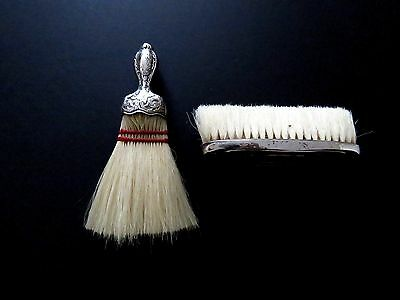 2 Antique Sterling Handle Horsehair Ladies Clothes Brushes