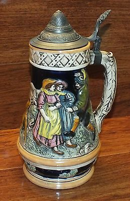 """Vintage Musical German Ceramic Beer Stein 10"""" Inches Tall with Hinged Lid *READ*"""