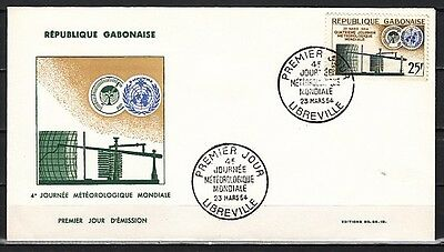 """ Gabon, Scott cat. 170. W.M.O. Organization, Weather issue on a First day cover"