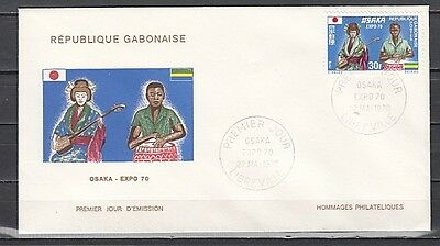 """ Gabon, Scott cat. 259. Osaka Expo & Musicians issue on a First day cover."