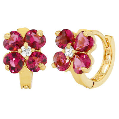 18k Gold Plated Hot Pink Crystal Flower Huggie Earrings Girls Teens 10mm