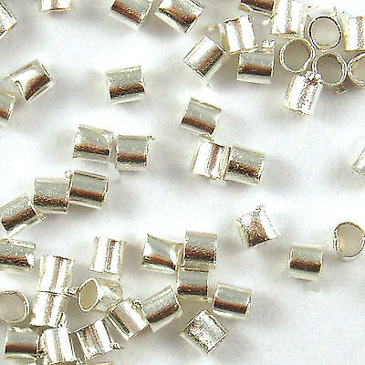 500 Pcs Silver Plated Metal Tube Crimp Beads 1.5mm