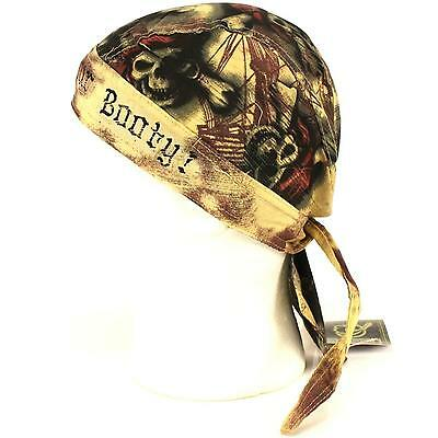 Surrender Your Booty Pirate Skull Fitted Bandanna Biker Urban Head Scarf Hat Cap