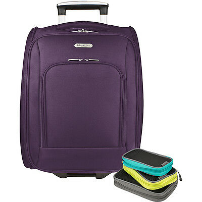 """Travelon 18"""" Wheeled Underseat Bag with Set of 3 Softside Carry-On NEW"""