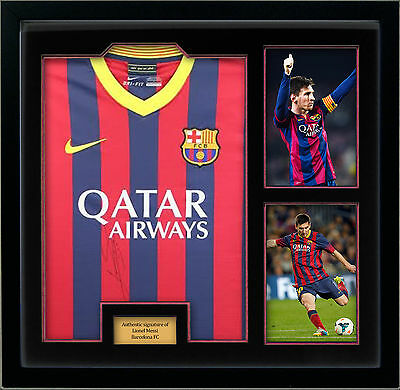 Lionel Messi Signed 2014 2015 Shirt with two 12x8 prints display