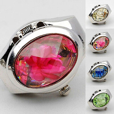 Women's Fashion Rhinestone Ring Watch Oval Cover Mini Quartz Watch Lovely