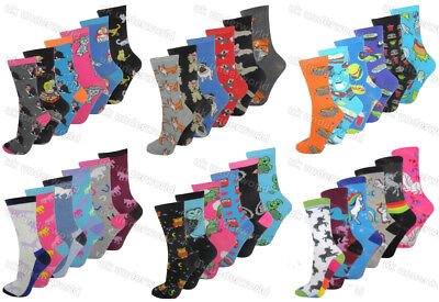 6 Pairs Ladies Womens Novelty Design Socks Cotton Blend Designer Adults 4-7