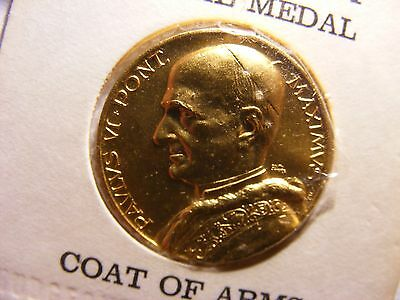 Pope Paul Vi Papal Medal Reverse Is Papal Coat Of Arms, Gold Plated