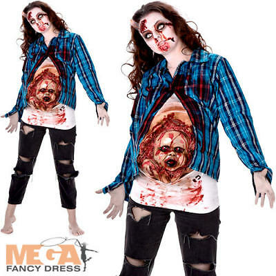 Deluxe Pregnant Zombie Ladies Fancy Dress Womens Halloween Scary Adults Costume