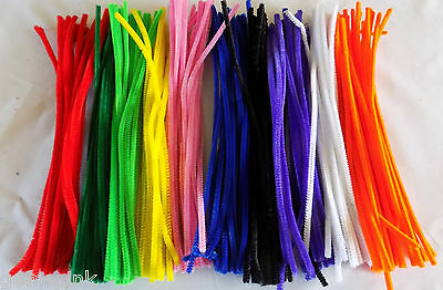 500 Chenille Craft Stems Pipe Cleaners 10 Colours  30cm x 4mm