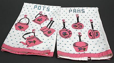 "Antique PAIR APPLIQUED & EMBROIDERED LINEN DISH TOWELS POTS & PANS 24"" x 17"""