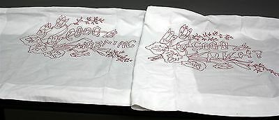 """PAIR TURKEY RED EMBROIDERED LAYOVER PILLOW SHAMS GOOD NIGHT MORNING 29"""" x 33"""""""