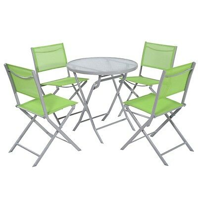 Outdoor 5 PCS Bistro Set Patio Garden Furniture Textilene 4 Folding Chairs +Table  sc 1 st  PicClick & OUTDOOR 5 PCS Bistro Set Patio Garden Furniture Textilene 4 Folding ...