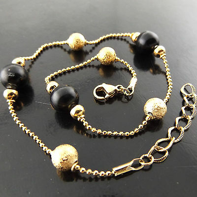 A524 Genuine Real 18K Yellow G/f Gold Ladies Onyx Beads Style Xl Bracelet Anklet