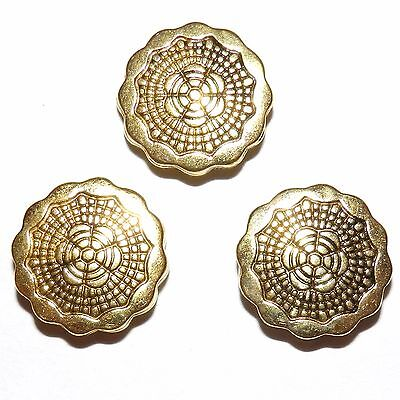 MB589p Antiqued Gold 20mm Scalloped Edge Textured Flat Round Metal Beads 20/pkg