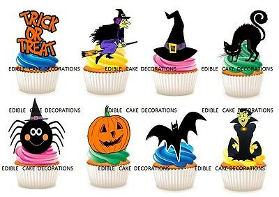 40 Halloween STAND UP Cupcake Fairy Cake Toppers Edible Rice Decorations