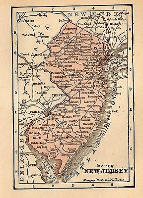 RARE Antique NEW JERSEY Map 1896 RARE MINIATURE Map of New Jersey State Map 3101