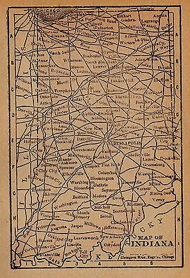 1888 Antique INDIANA Map RARE MINIATURE Vintage Indiana State Map 3108