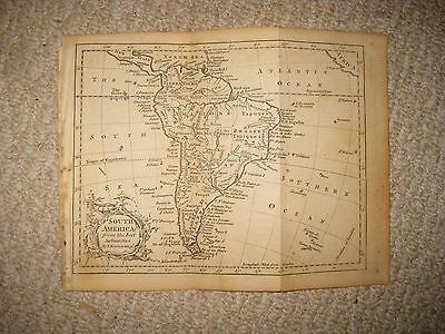 Antique 1762 South America Copperplate Map Terra Firma Magellanic Land Brazil Nr