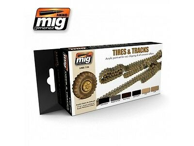 Mig Productions A.mig7105 - Tires & Tracks Acrylic Paint Set - Nuovo