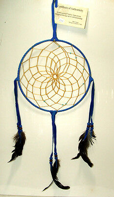 "8"" hoop Dreamcatcher Authentic Native American made Navajo Royal Blue  #177"