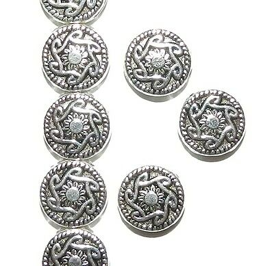 MB7131L2 Sun Deco Flat Round 10mm Antiqued Silver Finish Alloy Metal Beads 20/pk