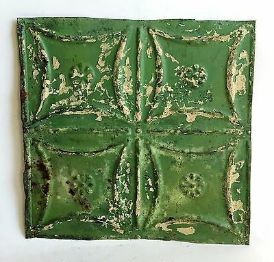 "12"" x 12"" Antique Tin Ceiling Tile *SEE OUR SALVAGE VIDEOS* Green C7 Metal"