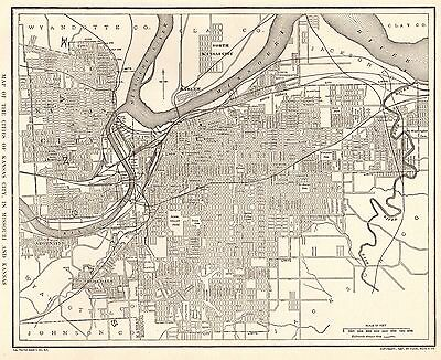 1914 Antique  KANSAS CITY Map of Kansas City Missouri and Kansas  #3132