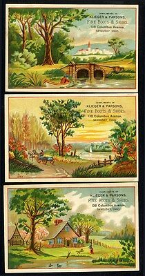 BOOTS and SHOES Sandusky Ohio 3 Trade Cards 1880s KLIEGER & PARSONS Columbus Ave