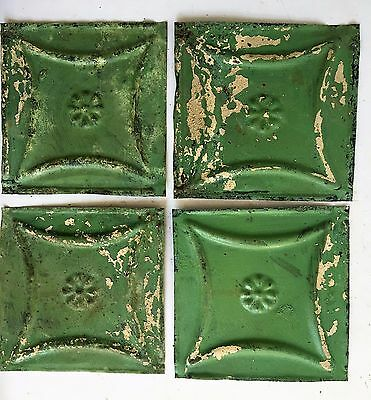 "1890's Reclaimed Antique Tin Ceiling Tiles 4- 6"" x 6"" Green Shabby B55 Metal"