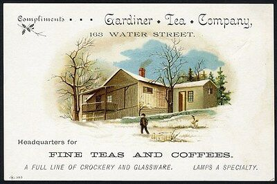 GARDINER TEA COMPANY on Water Street MAINE Victorian Trade Card 1880's - Snow