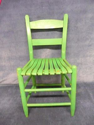 VINTAGE ANTIQUE RETRO Green wooden child sized chair NEEDS REPAINTED