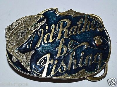 "Nice 1985 Vintage ""I Would Rather Be Fishing"" Trout Salmon Heavy Belt Buckle Fly"