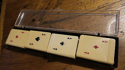 4 Vintage PLASTIC MATCH HOLDERS for CARD PLAYERS, Suits of Cards