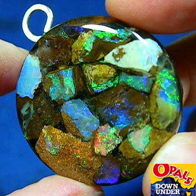 Flashy Colors * Natural Australian Boulder Opal Chip Pendant * See Video Clip