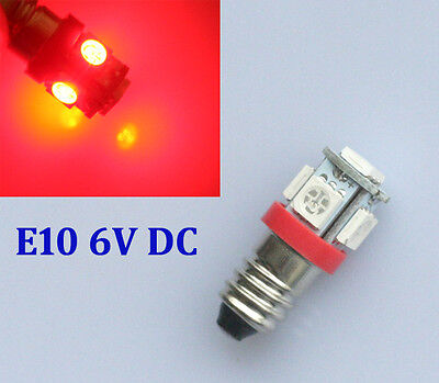2x SMD LED E10 rote Lampe Schraubgewinde 6V Volt ROT Fahrrad 5x5050 Power smd