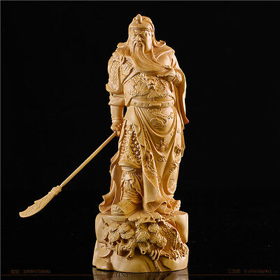 JP090 - 12 CM Long Carved Boxwood Carving Figurine - Guan Gong Warrior