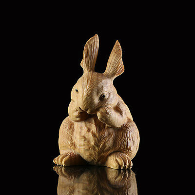 JP092 - 7*4.5*5 CM Carved Boxwood Carving Figurine - Lovely Rabbit