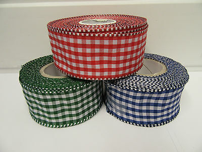2 metres or full roll 38mm Wired Florist Gingham Ribbon Double sided check VAT