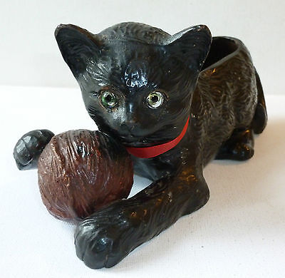Bretby art Pottery 1950's black cat with ball of wool