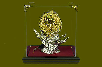 Handcrafted 24K Gold Plated Lion Bronze Sculpture Home Office Cabin  Figurine