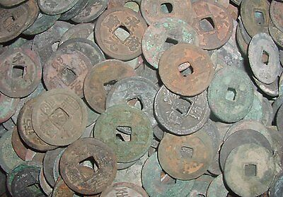 "100 pcs ancient Chinese coins ""dug coins"" from Java, Indonesia"