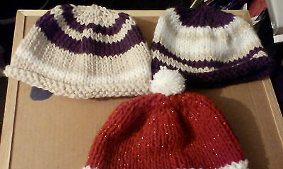 Hand Knitted Pull On Hats   6-9 Months Take A Look