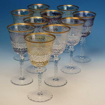 Bohemian Art Glass - Cut to Clear - Several Colors - 10 Wine Glasses